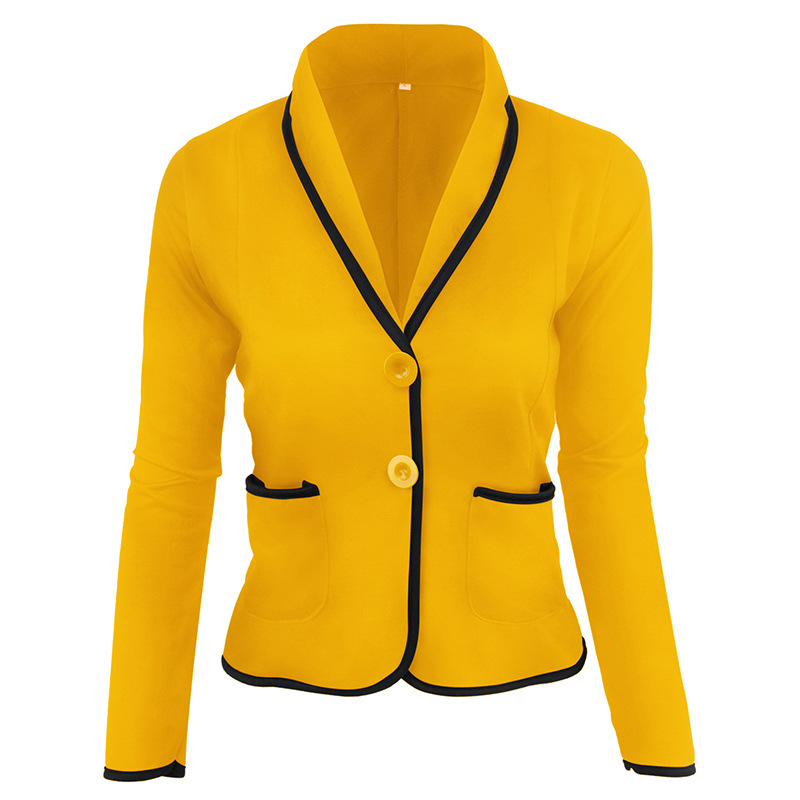 2019 Winter Autumn Pockets Blazers For Woman Solid Color Office Lady POLO Neck Long Sleeve Coats Blazer Feminino Plus Size 6XL