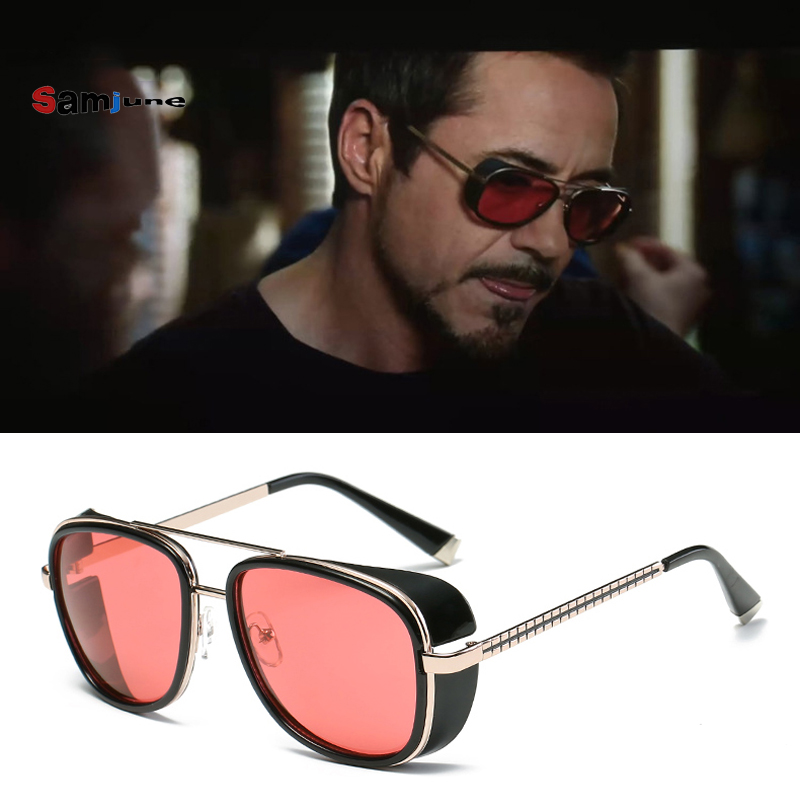 Samjune Iron Man 3 Matsuda TONY stark Sunglasses Men Rossi Coating retro Vintage Designer Sun glasses Oculos Masculino Gafas de marvel glass iphone case