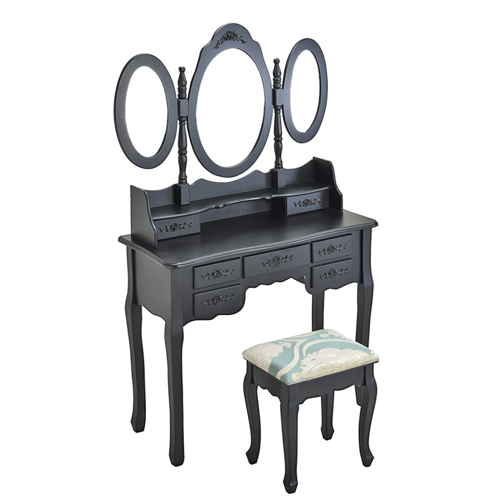 Wooden Dressing Table Black Pine Makeup Desk With Stool 3 Oval Mirror 7 Drawers HOT SALE bedroom home furniture dresser table with 2 drawers mirror and stool neoclassical style kd packaged wooden carved materials