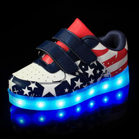 Babaya USB Charging American Flag Boys Colorful Light Shoes Stars Printed Girls LED Luminous Sneakers Children Sports Shoes
