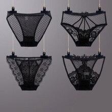 4pcs / 1set Black Sexy Lace Underwear Set Female Low Waist Transparent Panties Cotton Crotch Ladies Briefs Size M