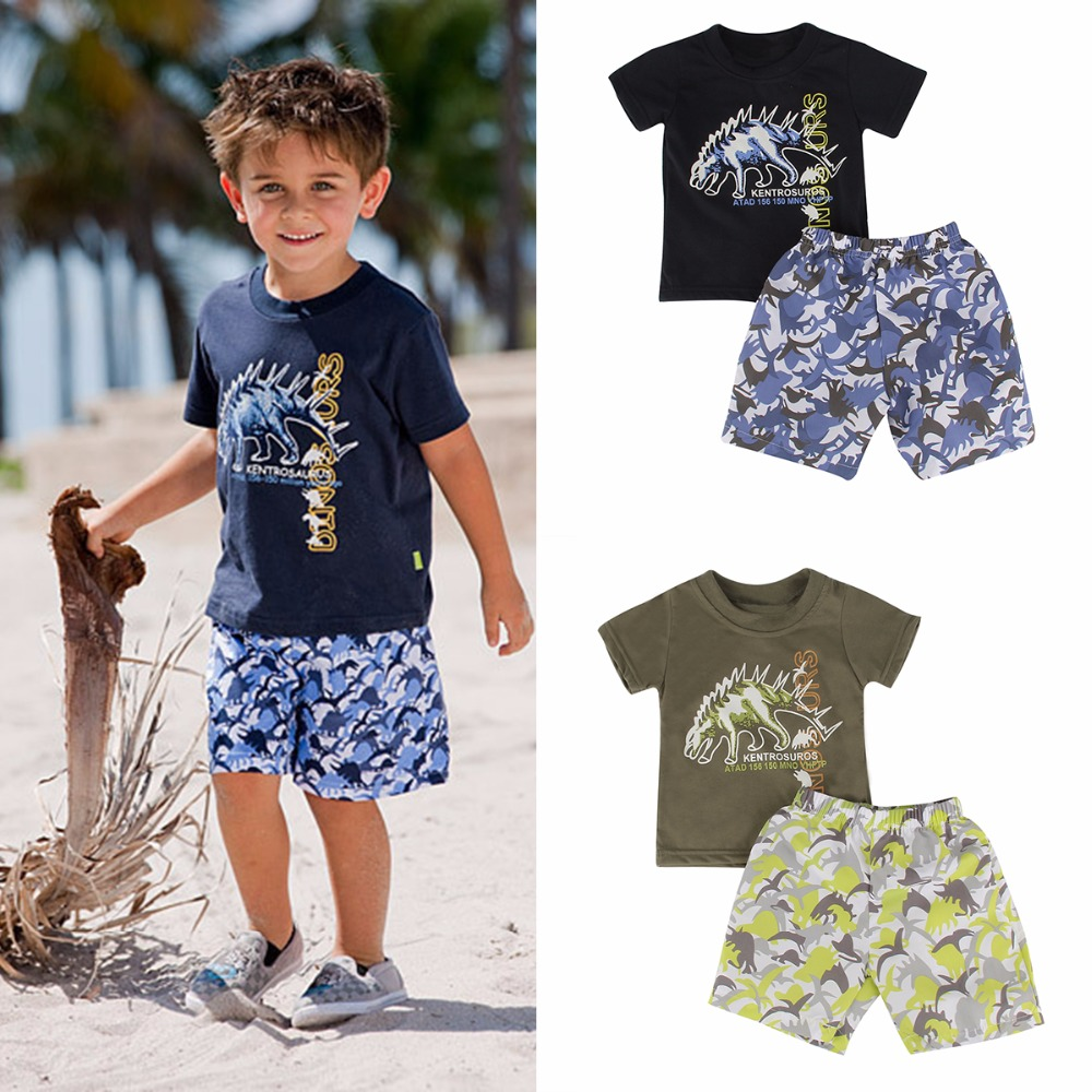 Puseky 2017 New Kids Clothes Set Summer Casual Boys Clothing Sets Children T-shirt+Short Pants Sport Suit for Boy Outfits 2-7T newborn kids baby boy summer clothes set t shirt tops pants outfits boys sets 2pcs 0 3y camouflage