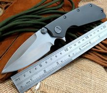 High quality D2 steel blade Bearing folding knife TC4 titanium alloy handle tactical knive tools camping knife + Cool