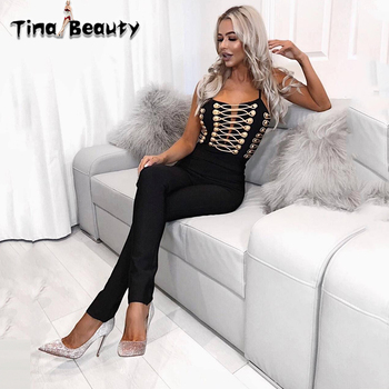 Tina Beauty Kait Black Gold Bandage Jumpsuit 2019 Summer New Women Party Prom Jumpsuit Sexy Straps Black Rompers