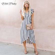 WildPinky 2019 Summer Dress Women Elegant Fashion Striped Dresses Sexy Deep V-Neck Vintage Casual Female Long Vestidos