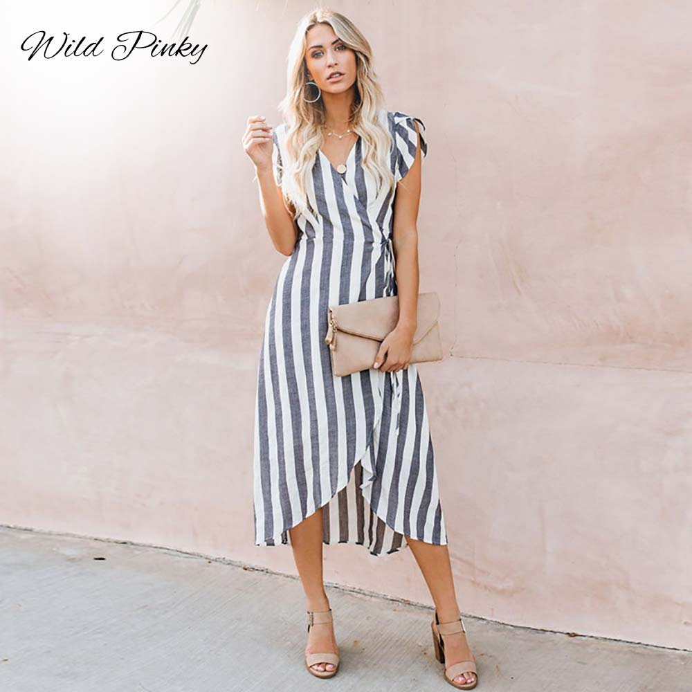 WildPinky 2020 Summer Dress Women Elegant Fashion Striped Dresses Sexy Deep V-Neck Vintage Casual Female Long Dress Vestidos