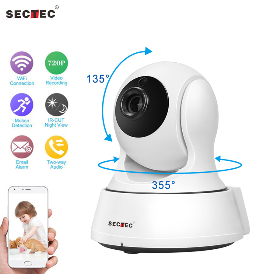 SECTEC 720P Security Baby Monitor IP Camera WiFi Home Security CCTV Camera With Night Vision Two Way Audio P2P Remote View white black escam qf506 black wifi ip camera security monitoring alarm cctv ip camera 720p lens ir night vision two way audio