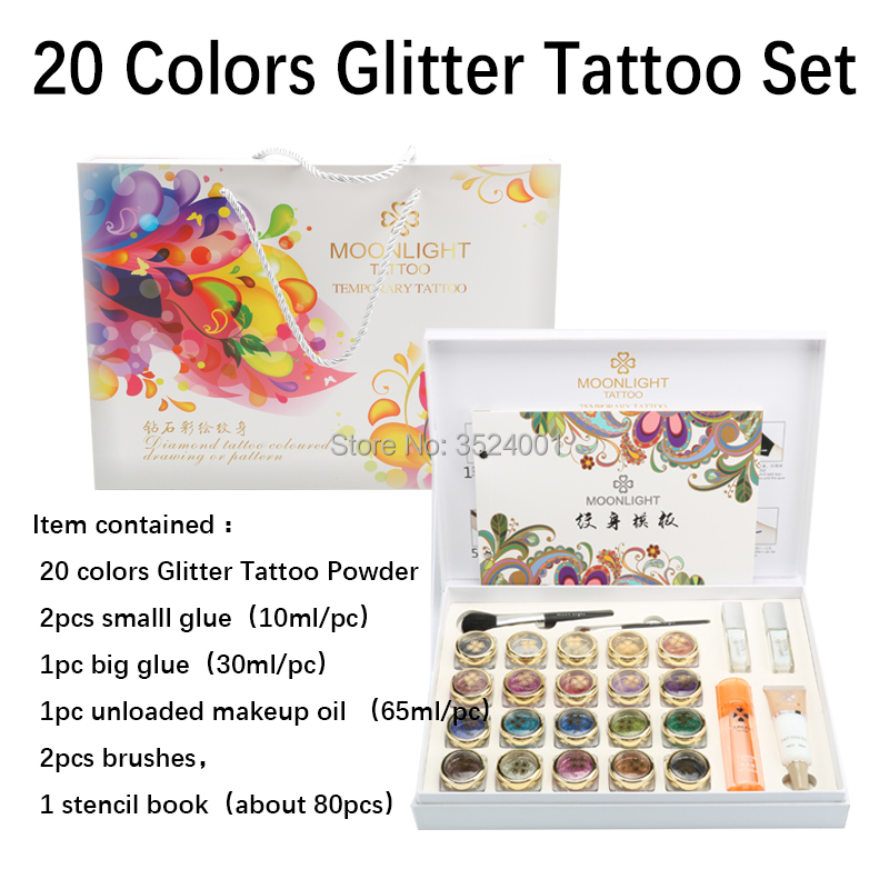 2017 New High Quality 20 Colors Glitter Tattoo set Powder for Body Art Temporary Tattoo Brushes Glue Stencils Free Shipping free shipping 38 colors professional tattoo temporary waterproof glitter body art deluxe kit glitter tattoo stencils
