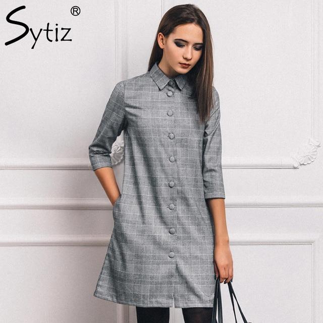 32ee709ef Sytiz Cinza Camisa de Botão Xadrez Do Vintage Vestido Mulheres 2017 Outono  e Inverno Meia Manga