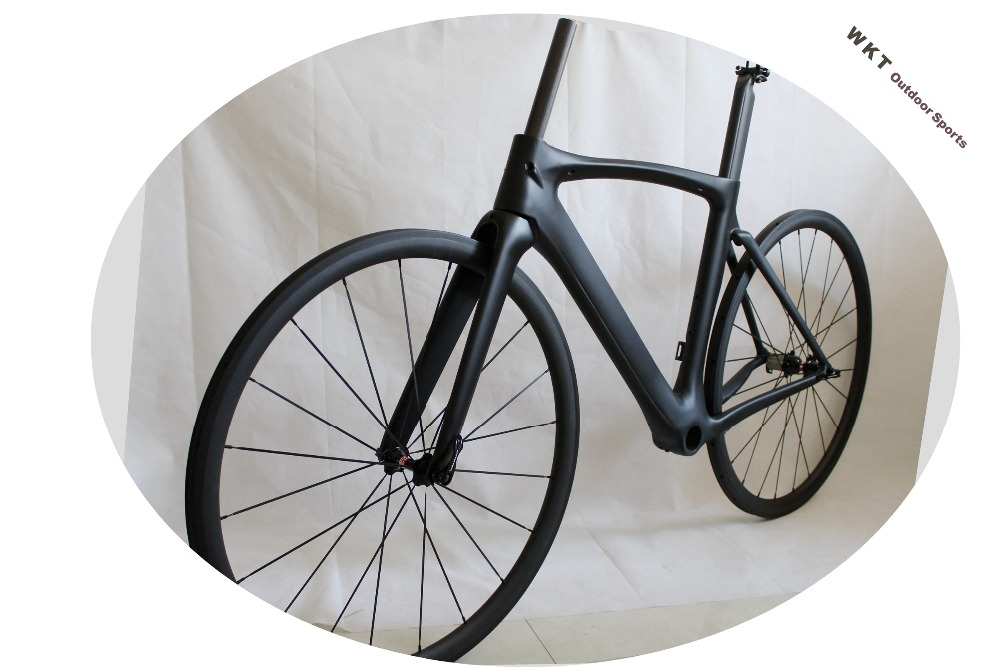 Fast delivery!2018 New design !Full carbon bicycle frame+fork+seatpost+clamp road frame,38mm clincher wheelset road track frame fixed gear frame bsa carbon 1 1 2to 1 1 8 bike frameset with fork seatpost road carbon frames fixed gear frameset
