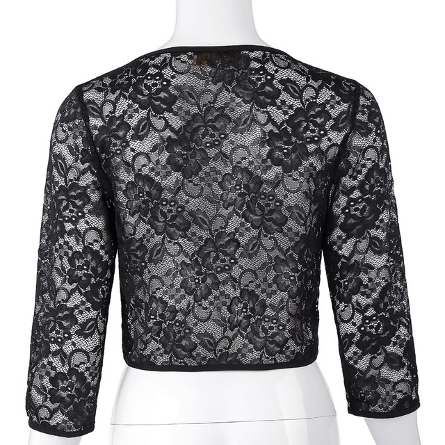 Womens Jacket Autumn Lace Bolero 3/4 Sleeve Elegant Black Wedding Evening Cropped Shrugs Ladies Open Stitch Women Basic Coats 1