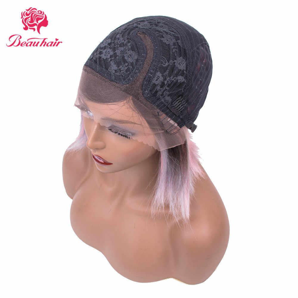 Safira laço frontal perucas de cabelo humano para preto mulher reta não remy bob peruca pré arrancado 1b rosa cinza três tom peruca colorida