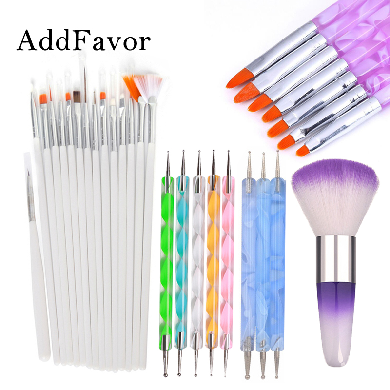 Addfavor 15pcs Acrylic Nail Art Brush UV Gel Polish Painting Drawing Brushes Pen Nail Dotting Kit Clean Brush Manicure Tools Set цена