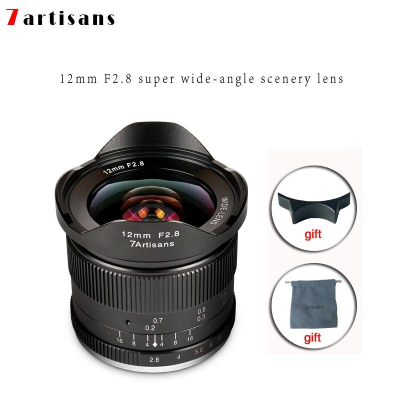 Lentes 7 artesãos 12mm F2.8 Ultra Wide Angle Lens Para E-montagem Aps-c Câmeras Mirrorless A6500 a6300 A7 Manual Foco Principal Fixo
