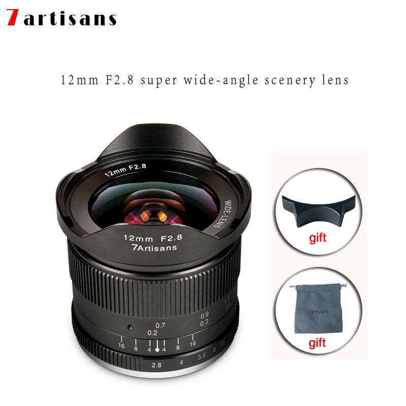Lentes 7 artesanos 12mm F2.8 lente Ultra gran angular para E-mount Aps-c de las cámaras sin Espejo, A6500 a6300 A7 enfoque Manual primer fijo