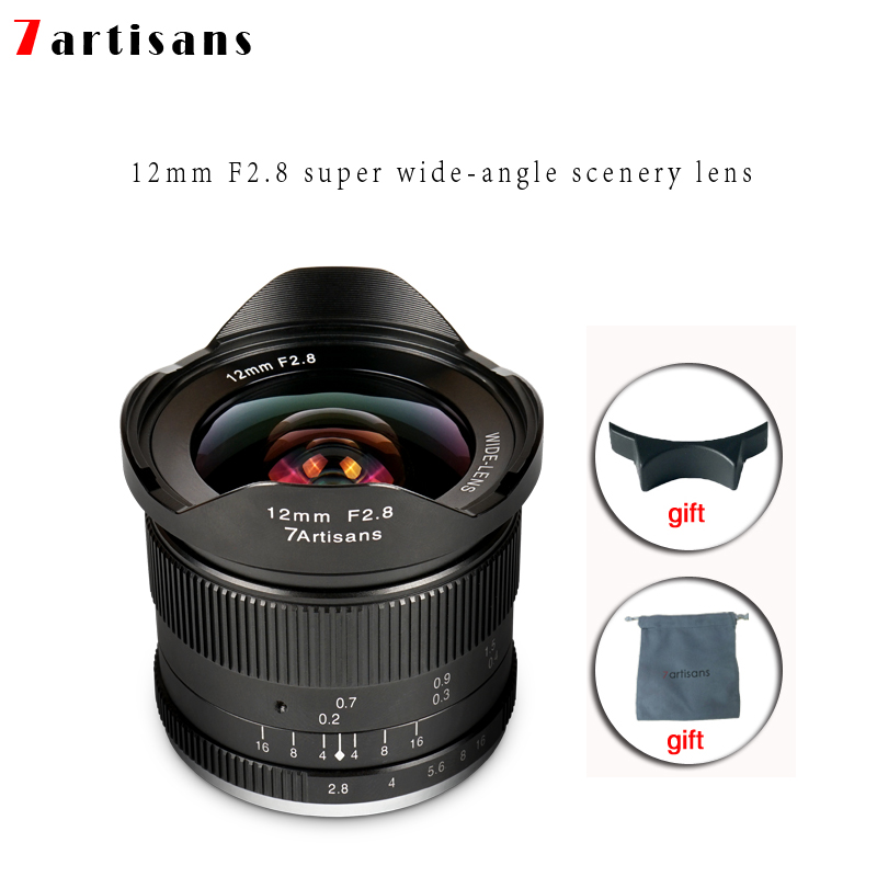 Lentes 7 artigiani 12mm F2.8 Ultra Wide Angle Lens Per E-mount Aps-c Fotocamere Mirrorless A6500 a6300 A7 Messa A Fuoco Manuale Prime Fisso