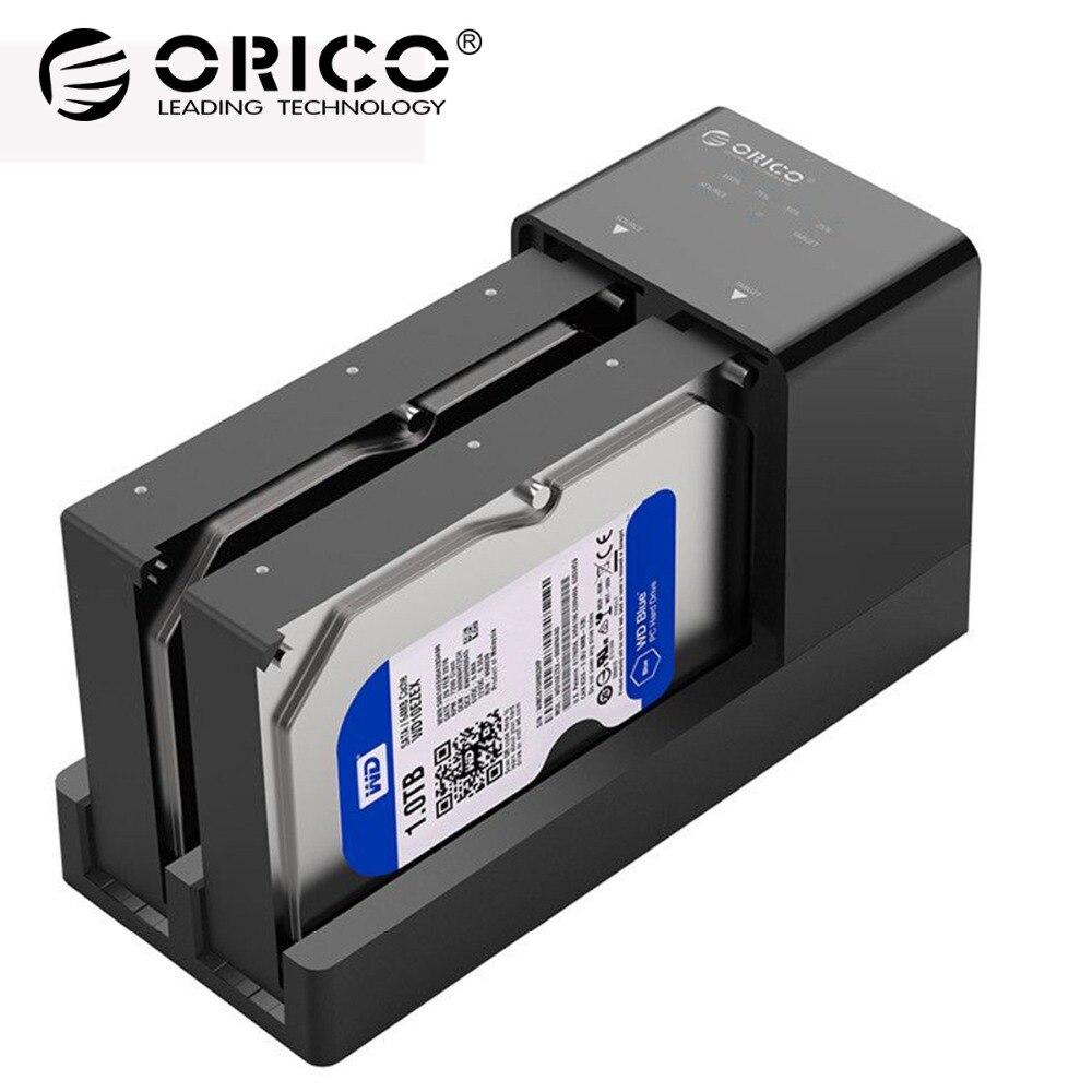 ORICO Dupla Baía HDD Docking Station 2.5 3.5 USB 3.0 para Sata Caso Disco Rígido Suporte Offline Clone de Disco Rígido adaptador Para HDD SSD