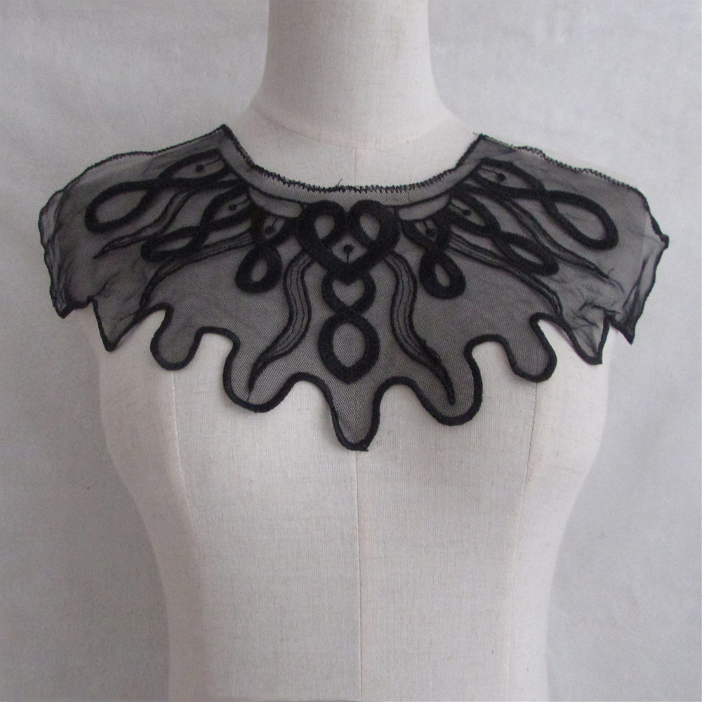 1pc Lace Craft black Floral Embroidered Collar Style Beautiful Flower Venise Lace Applique Trim Lace Fabric Sewing SuppliesYL859
