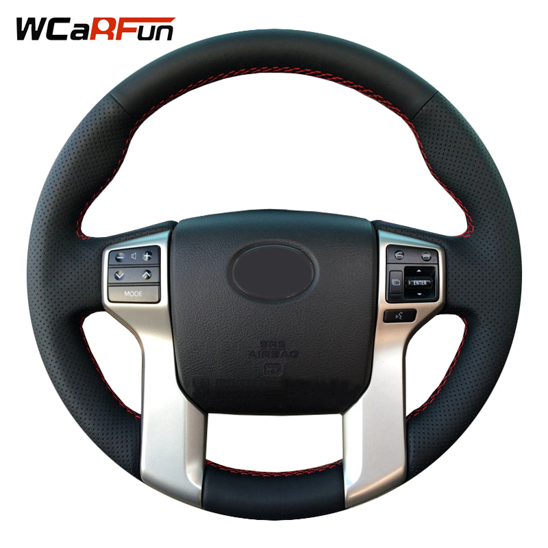 wcarfun hand stitched black leather steering wheel cover for toyota land cruiser prado 2010 2014. Black Bedroom Furniture Sets. Home Design Ideas