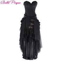 Belle Poque Black Skirts Womens Ruffled Long Open Skirt Steampunk Retro Victorian Lolita Punk Asymmetrical Skirt