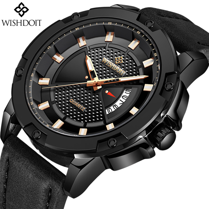 2018 Watch WISHDOIT Mens Watches Top Brand Luxury Business Leather Quartz Watch Men Casual Waterproof Sport Watch Montre Homme montre homme doobo mens watches famous top brand luxury sports watch men quartz watch waterproof men clock business men watch