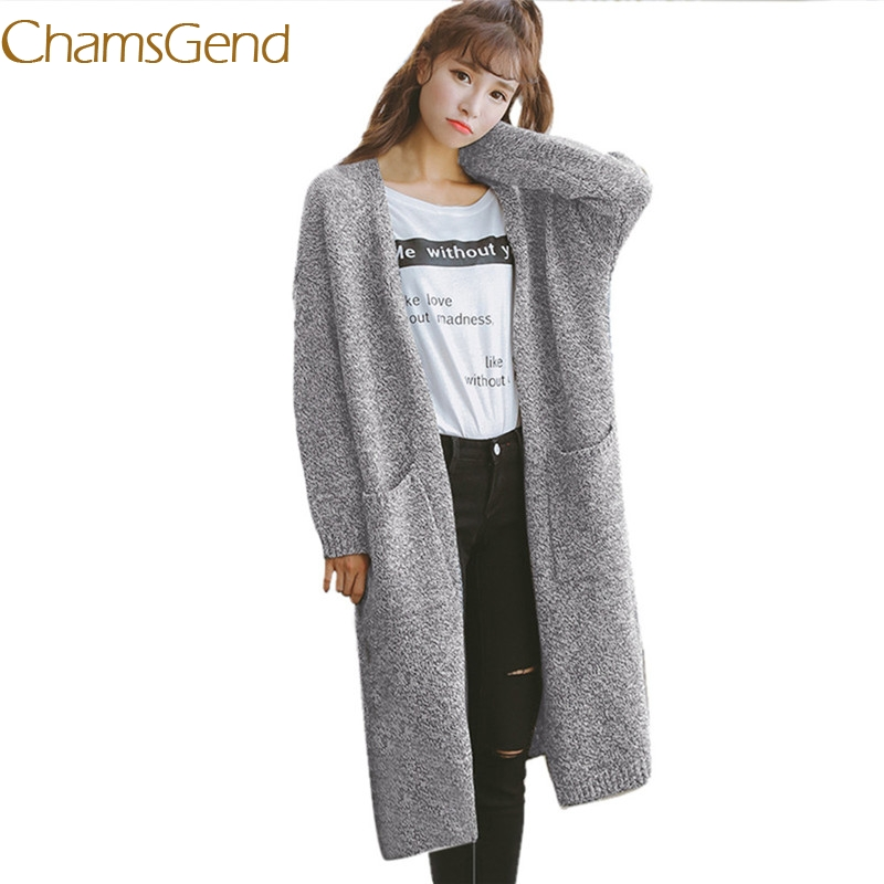 Chamsgend Elegant long knitted sweater women cardigan 2017 fashion Autumn winter long Outerwear cashmere women jersey blouse 77#