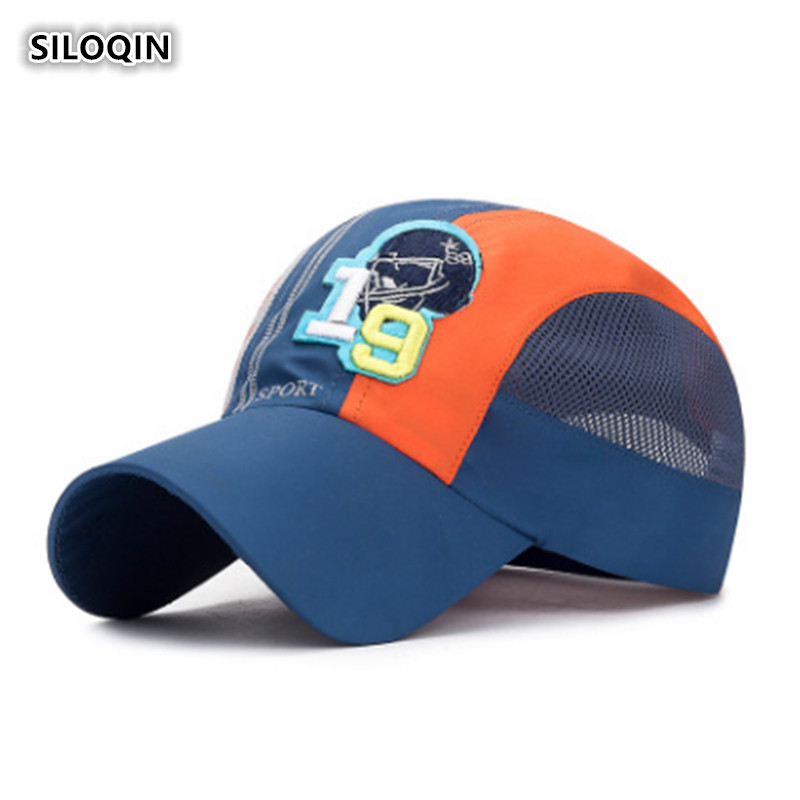 SILOQIN Trend Primary School Student Summer Motion Quick-drying Baseball Cap  Adjustable Mesh Breathable Visor Hat Snapback Hats(China)
