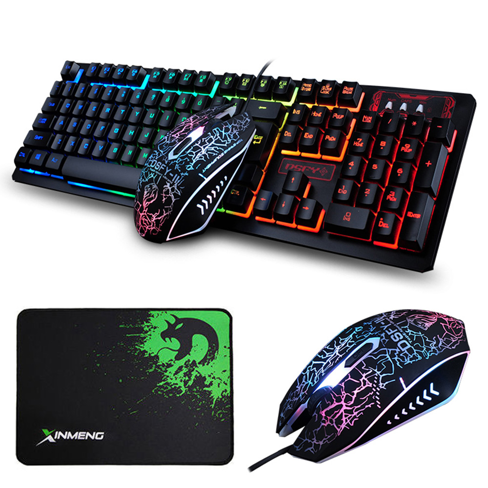 K-13 Wired Rainbow Backlit illuminated Usb Multimedia Ergonomic Gaming Keyboard + 2400DPI Optical Gaming Mouse Sets + Mousepad wired 6 key usb 2 0 800 1000 1600 2400dpi optical gaming mouse