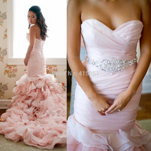 2015 Fashionable Pink Wedding Dress Mermaid Bridal Gowns Pleat Crystal Ruffles Lace Up Back Custom Made Court Train W3539