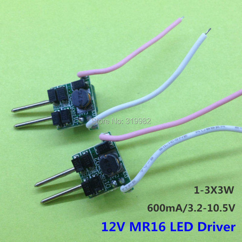 100 PCS <font><b>MR16</b></font> 2pin <font><b>12V</b></font> <font><b>LED</b></font> Driver 1-3X3W Low voltage Transformer 2 feet 600MA Constant Current 3W 9W High Power Lamp Power Supply