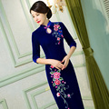 Chinese Traditional Clothing Embroidery Cheongsam Mermaid Dresses Half Sleeve Long Qipao Great for Wedding Prom Party Cocktail