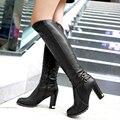 Inverno Quente da Pele Do Falso Das Mulheres Joelho Botas Altas de Couro Macio Moda Zíperes laterais Nova Fêmea Salto Grosso Botas Altas Botas Sapatos Plus Size