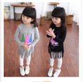 Niñas Bebé Niño T-shirt Camisa de Dibujos Animados de Corea Borlas Gris Negro Niños Ropa de la Historieta de Impresión de Algodón