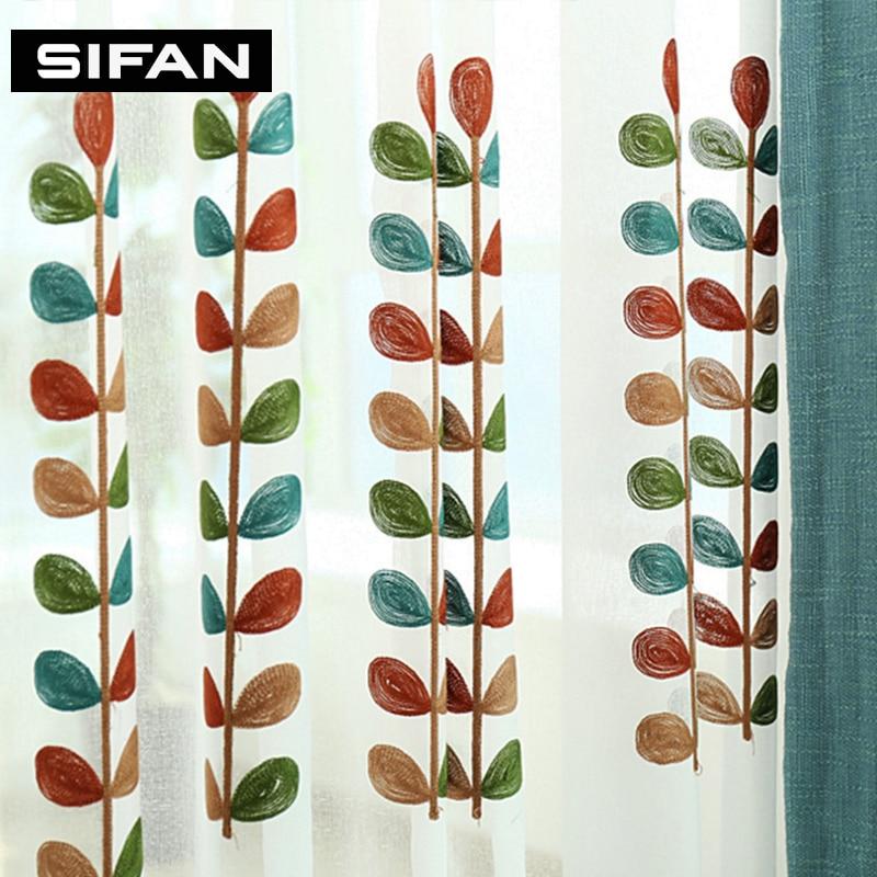 Grass izšūti tilla aizkari dzīvojamā istabā izšūti milzīgie - Mājas tekstils