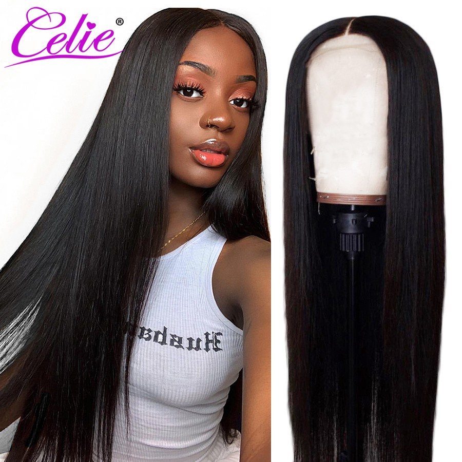 Celie Hair Lace Front Human Hair Wigs Pre Plucked Brazilian Straight Lace Front Wig 150 180 250 Density 360 Lace Frontal Wig-in Human Hair Lace Wigs from Hair Extensions & Wigs