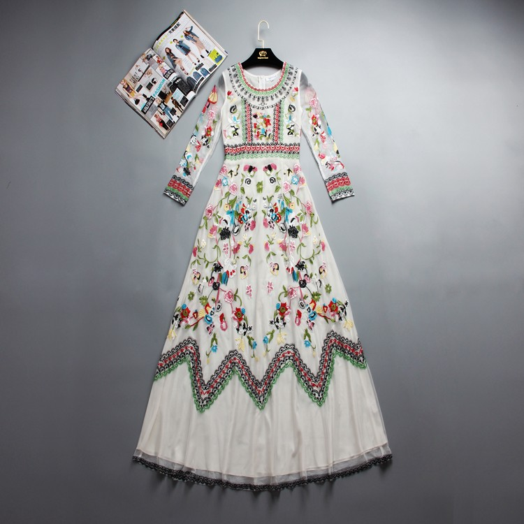 Luxuriant White Gauze Heavy Embroidery Lace Embroidered Long-sleeved Dress Brand In Europe And America In 2018 Runway Fashion