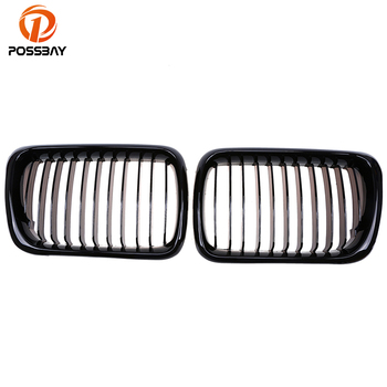 POSSBAY Front Car Gloss Black Center Wide Kidney Hood Grille Grills for BMW 3-Series E36 M3 318ti/320i Coupe 1996-1998 facelift