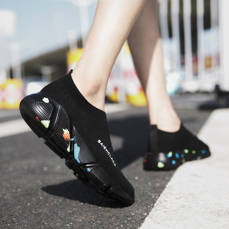 все цены на DAOKFPO New Spring Fashion Lady Casual White Shoes Women Sneaker Black Leisure Thick Soled Shoes Flats Elastic Soft NVF-25