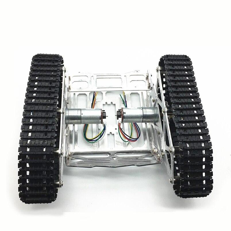 Plate-forme de voiture d'intelligence de châssis de Robot suivi par bricolage d'alliage d'aluminium de CNC avec le double moteur de cc avec l'encodeur pour le Robot