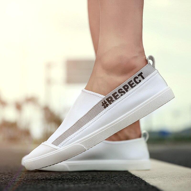 Cuir Chaussures Respirant white Lecteur Nouvelle Sur Mâle Pour Sneakers Glissement En Occasionnels Oxfords Black Homme Hommes Vogue AHwXEaqH