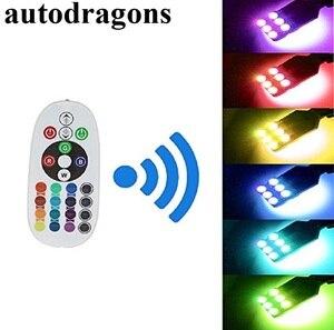 Autodragons 2X T10 921 мощный RGB светодиодный многоцветный парковочный светильник, лампы для салона + пульт дистанционного управления с аккумуляторо...