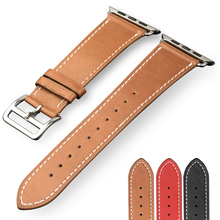 QIALINO Genuine Leather Strap for iWatch Sports Stainless Steel Pin Buckle Watchband for Apple watch 42mm 38mm Series 1 Series 2