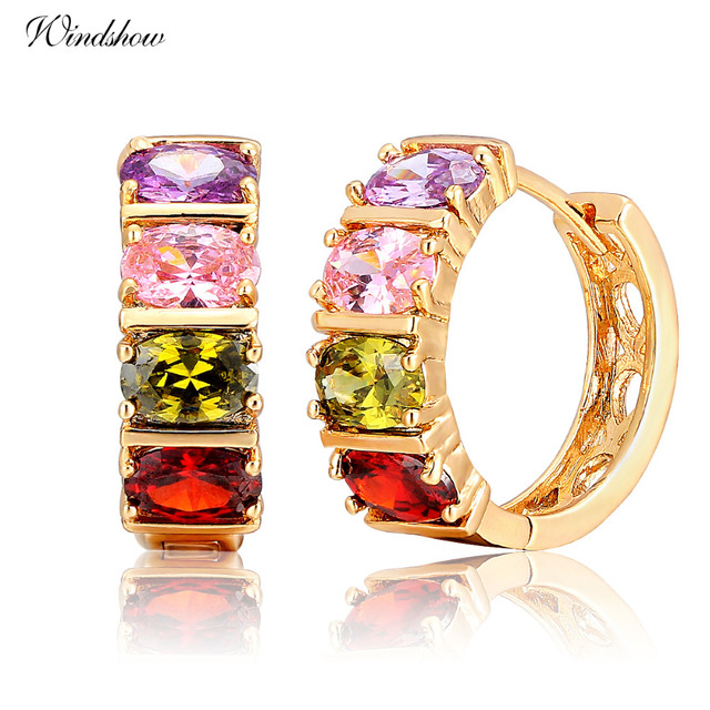 Luxury Wedding Bridal Gold Color Lady Huggie CZ Hoops Earrings for Women  Girls Multicolor Jewelry Brinco 1eabdcde2c57
