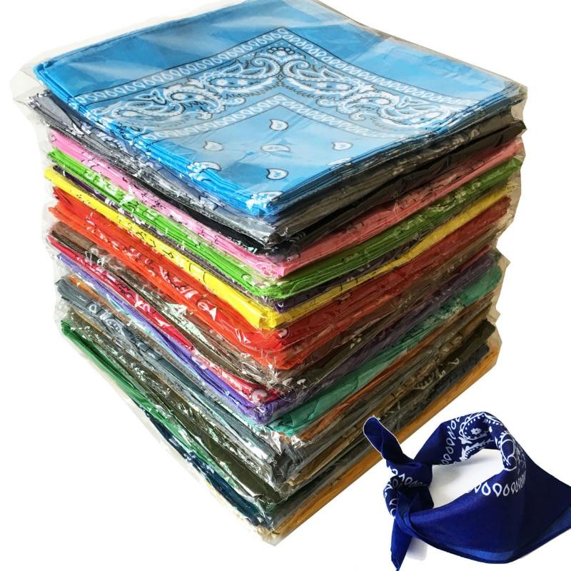 Bandana Scarf Head-Wrap Kerchief Neck-Shawl Fashion Cotton Women Square Print Multifunctional