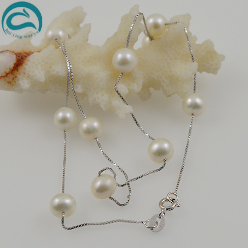 Unique Pearls jewellery Store 18inches White Silver Chain AAA 8-9mm Top Quqlity Freshwater Pearl Necklace Woman JewelryUnique Pearls jewellery Store 18inches White Silver Chain AAA 8-9mm Top Quqlity Freshwater Pearl Necklace Woman Jewelry