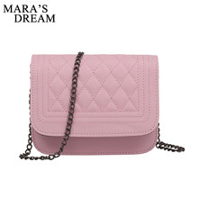 Mara's Dream 2018 PU Leather Women Messenger Bag Plaid Ladies Crossbody Bag Chain Trendy Candy Color Small Flap Shopping Handbag