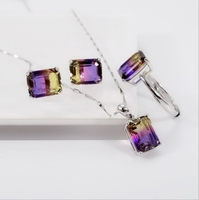 New 3 Colors Rainbow Fire Mystic CZ Ring/ necklace/ Earring Gift For Women Genuine Solid 100% 925 Sterling Silver Jewelry Set