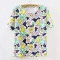 2017 hot summer tops todo o Caráter de impressão t-shirt Das Mulheres t camisas de manga curta casuais t camisa de algodão t-shirt Das Mulheres T camisa
