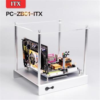DEBROGLIE  ITX Aluminum Motherboard Bracket  DIY tray display ITX Platform with top/ 2pcs Reboot Switch for PC Computer