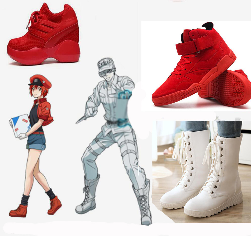 Hataraku Saibou Red Blood Erythrocyte Cell At Work Cosplay Costume Platelet Neutrophil T Cell Punk <font><b>Lolita</b></font> <font><b>Shoes</b></font> Punk Sport boots image